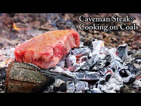 Caveman Steak - Cooking on Coals