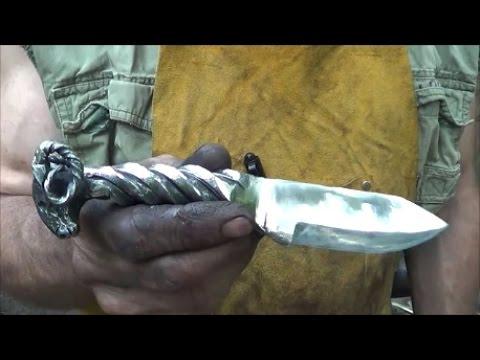 Blacksmithing Knifemaking - Forging A Ram's Head Railroad Spike Knife
