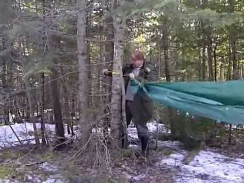 DIY cheap tarp hammock and set up