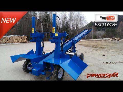 Industrial Wood Splitter Demo: Powersplit Self-Propelled Double Vertical Wood Splitter with Conveyor
