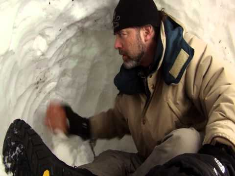 How to build a quinzee snow cave shelter