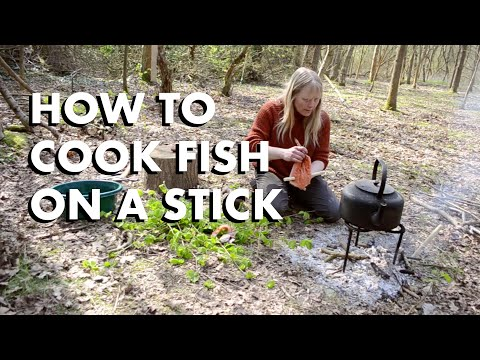 How to cook fish on a stick in the woods