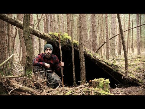 Primitive Survival Shelter Build with Bare Hands - No Tools Needed