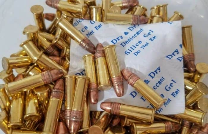 silica gel packets among bullets