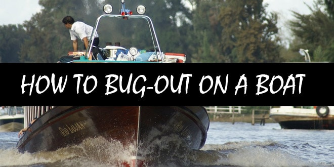 bugging out on boat logo