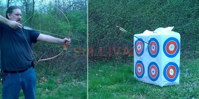 shooting a bow made with floss