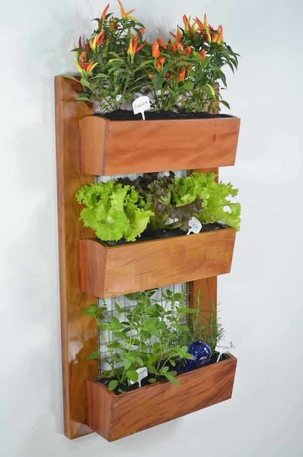 vertical garden pots wooden construction