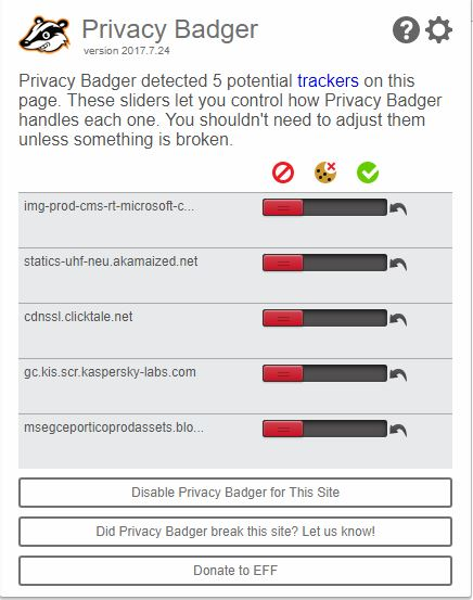 Block kaspersky cookies with PRIVACY Badger