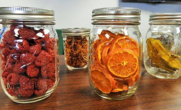 dehydrated fruit in mason jars