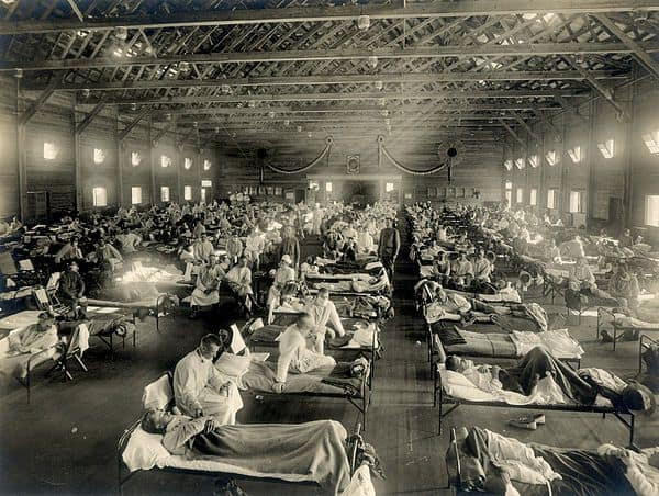 Emergency hospital during Influenza epidemic Camp Funston Kansas