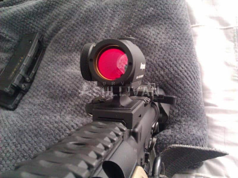 AR with red dot sight