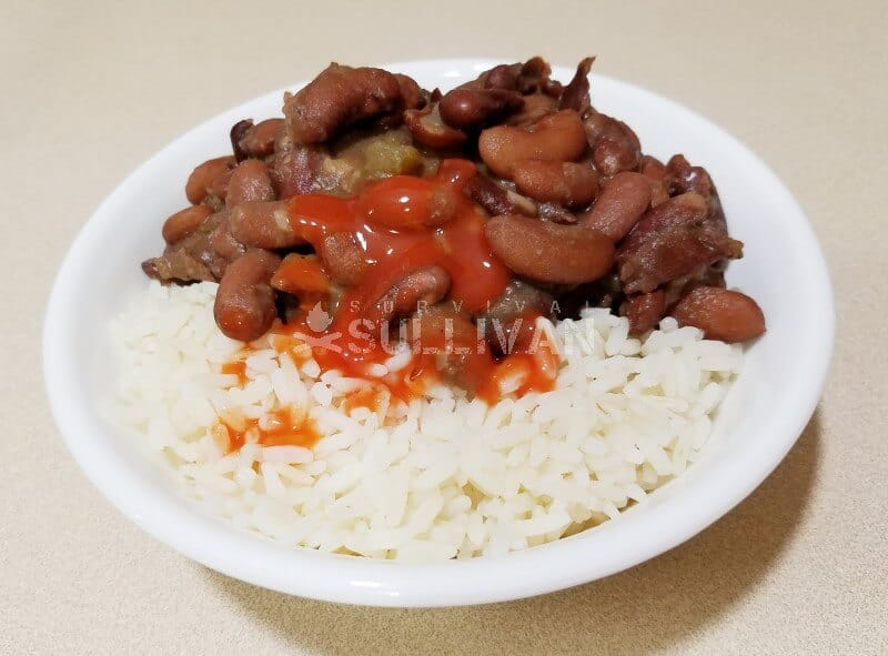 beans and rice with hot sauce