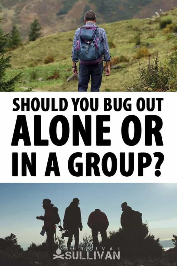 bugging out alone or in a group Pinterest image