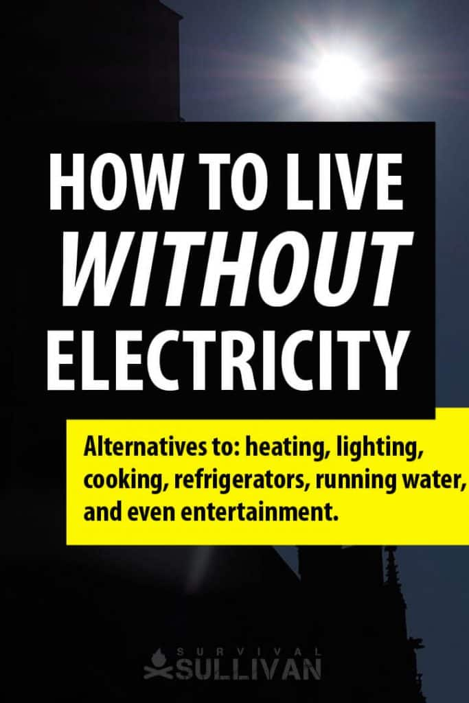 living without electricity Pinterest image