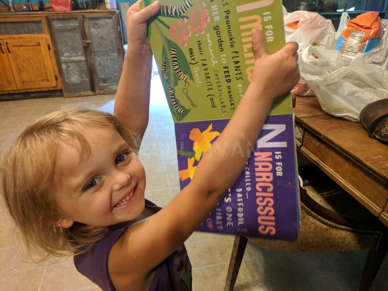 toddler holding a gardening book