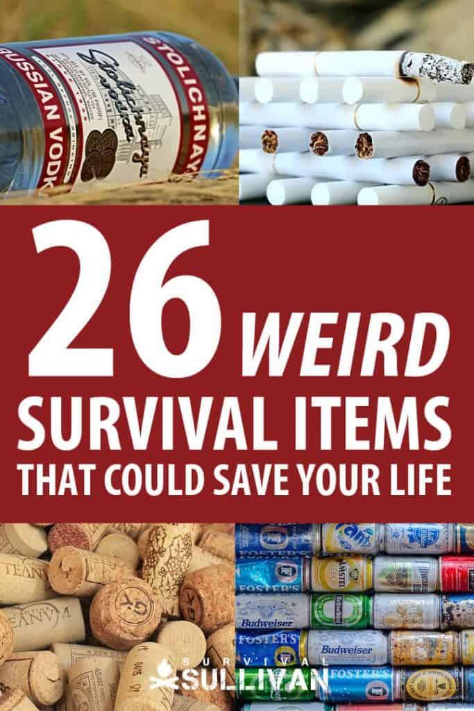 weird survival items Pinterest image