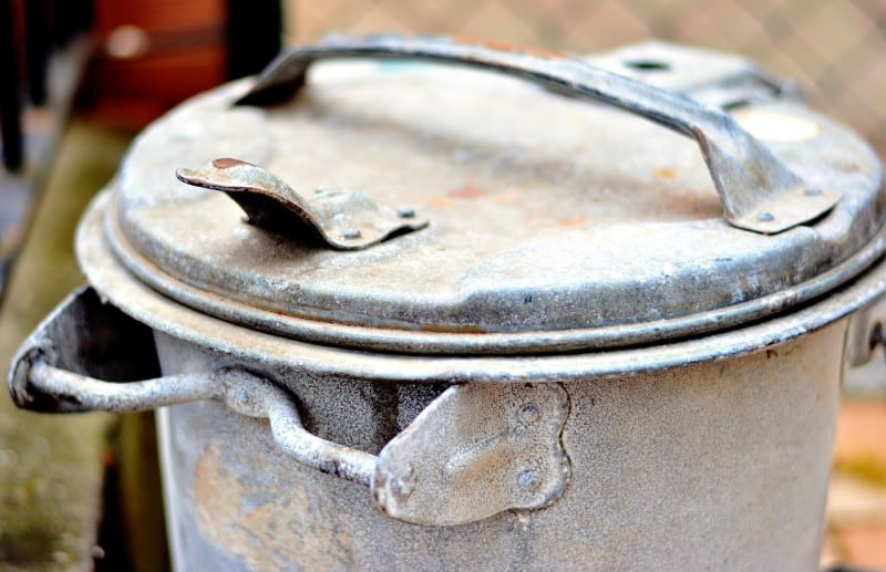 rusty trash bin
