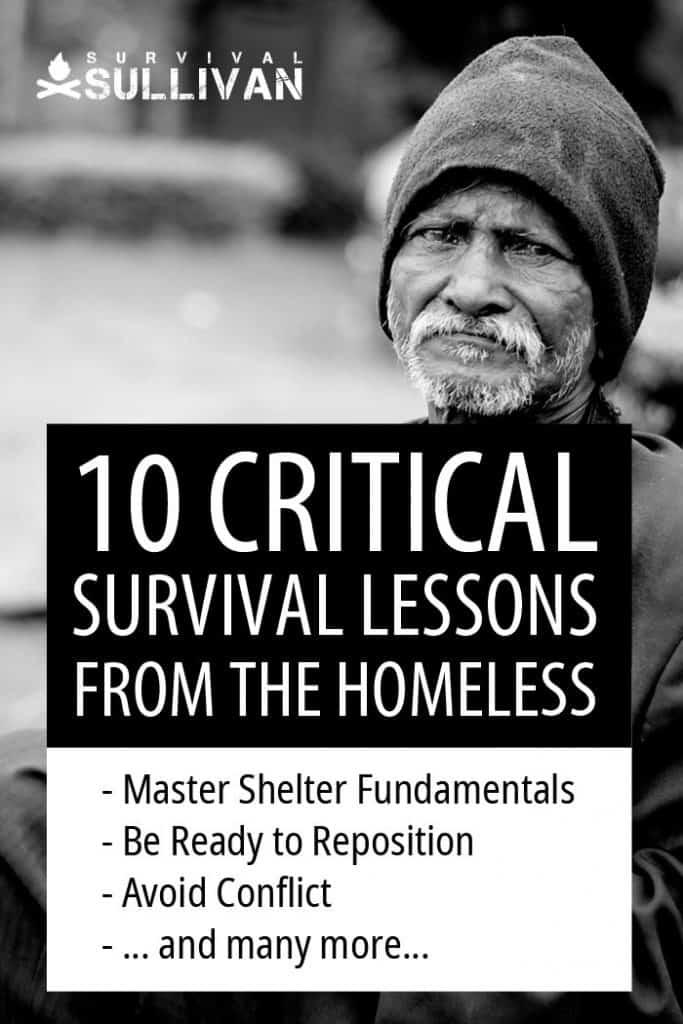 homeless survival lessons Pinterest image