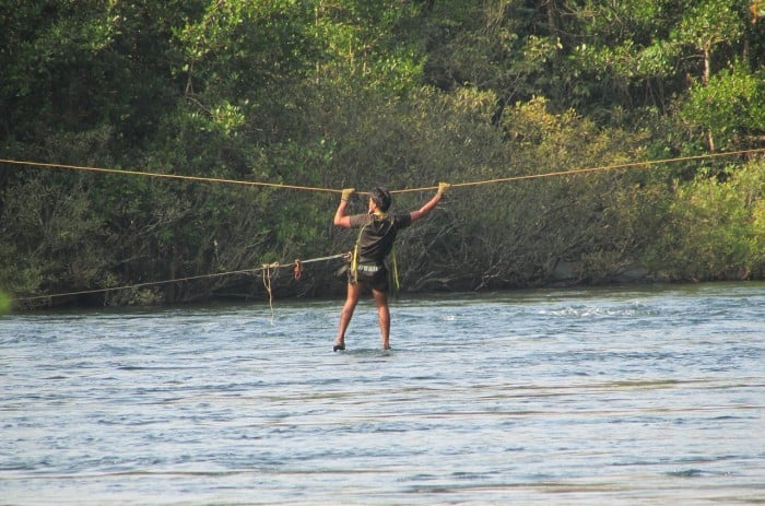 river crossing with a rope