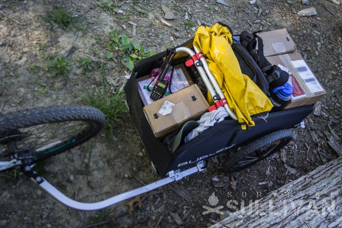bike trailer-loaded with supplies
