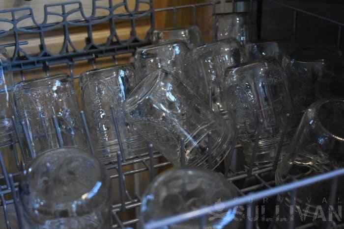 canning jars in dishwashing machine