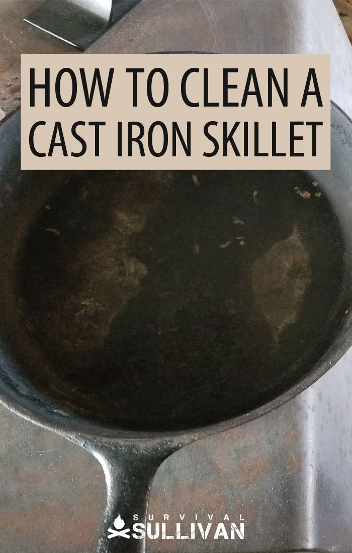 cleaning a cast iron pinterest image