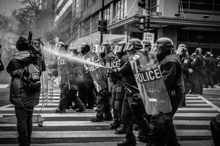 police stopping riot