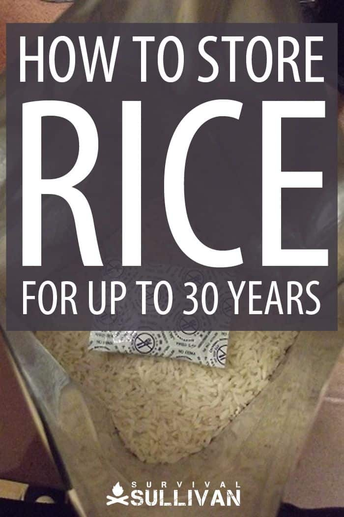 storing rice Pinterest image