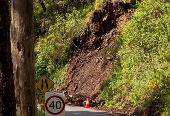 landslide near road
