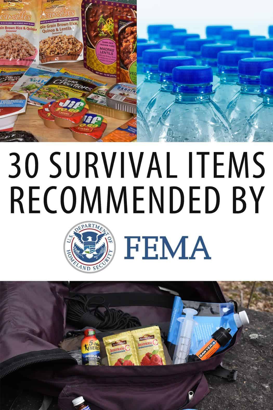 FEMA survival items Pinterest