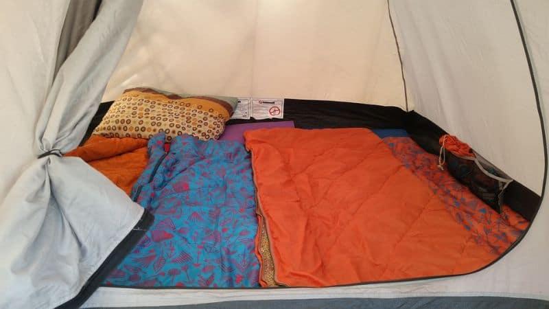 sleeping bag inside tent
