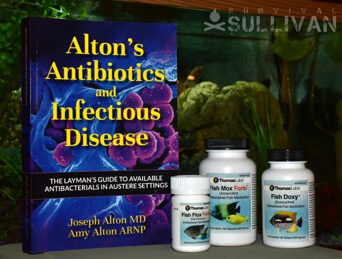 Alton's Antibiotics book with fish antibiotics next to it