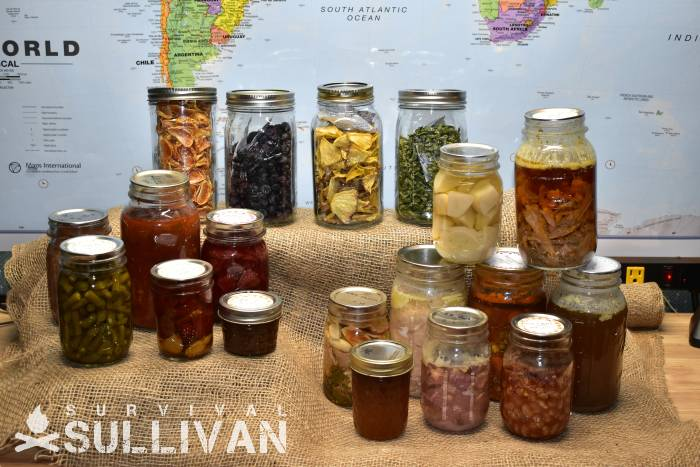 glass jars with dehydrated, pressure canned and water bath produce