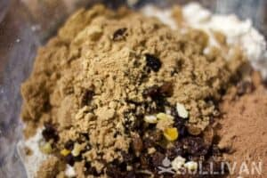 Fruit, spices, sugar and cocoa for the Trench Cake