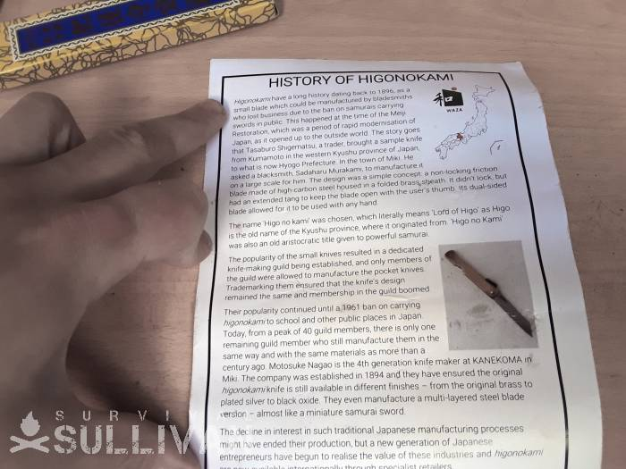 leaflet with the history of the Higonokami knife