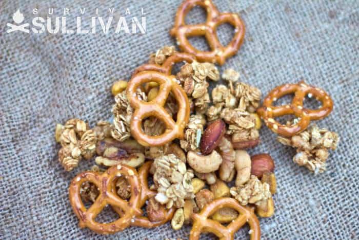 granola pretzel nut mix