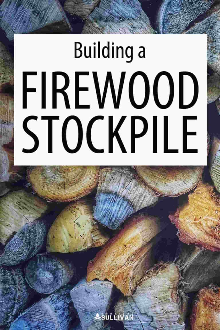 firewood stockpile Pinterest image