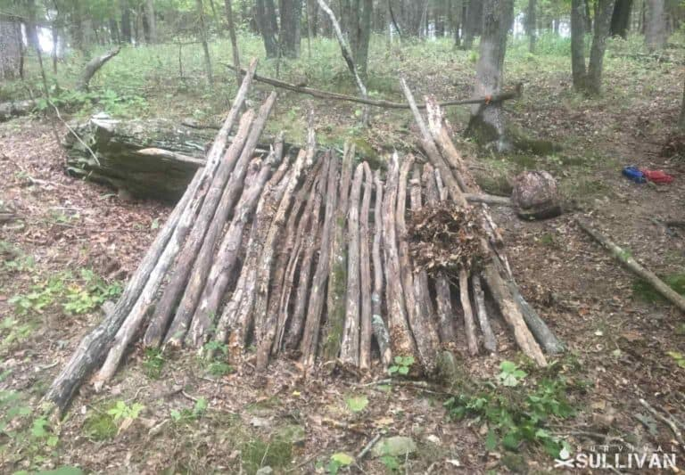 making a lean-to shelter from wood branches