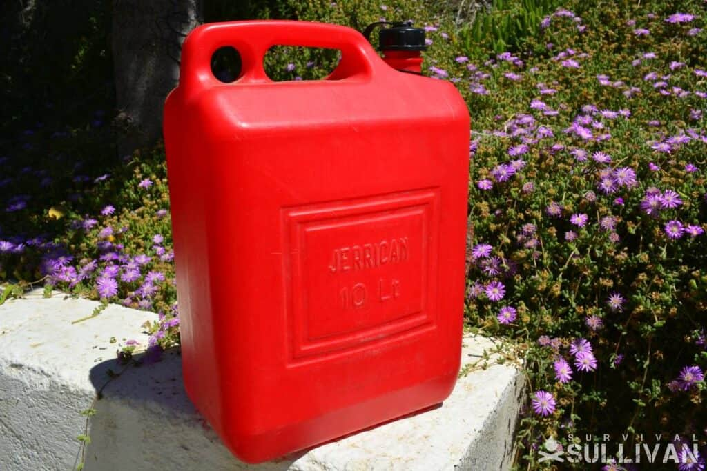 red 10 liter Jerry petrol can