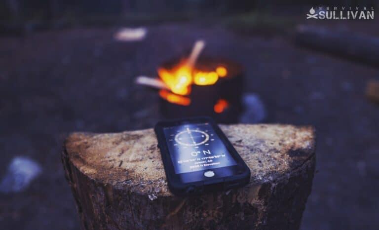 smartphone near camp fire
