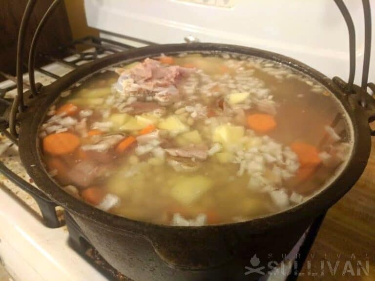 rehydrating meat in cookpot